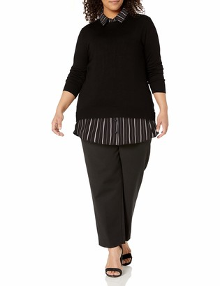 City Chic Women's Apparel Women's Plus Size Crew Necked Knit with Skirt Layer Underneath