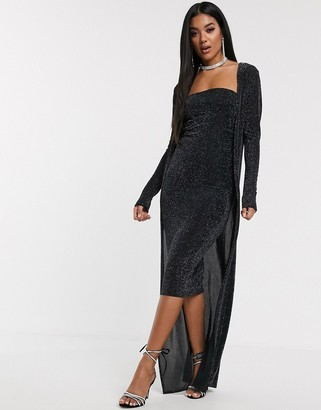Asos DESIGN two piece midi dress and robe sparkle set