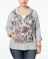 Style&Co. Style & Co Plus Size Printed Half-Zip Hoodie, Only at Macy's