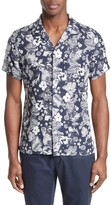 Todd Snyder Men's Trim Fit Floral Print Linen Camp Shirt