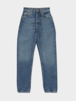 Nudie Jeans Breezy Britt Mom Jeans in Orange Skin Blue Denim