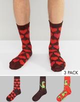 Asos Socks With Glitter Dinosaur Design 3 Pack