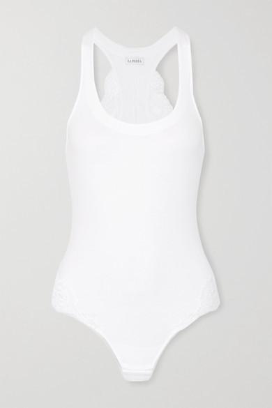 La Perla Souple Lace-trimmed Stretch Cotton-blend Jersey Bodysuit - White