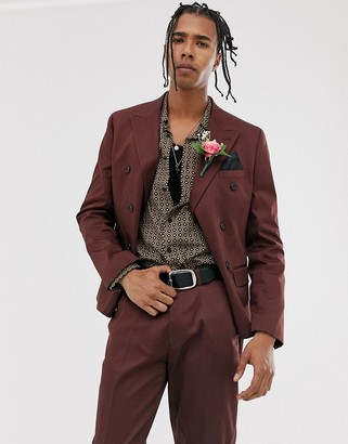 ASOS DESIGN wedding slim cotton double breasted suit jacket in burgundy
