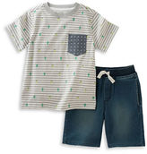 Kids Headquarters Boys 2-7 Two-Piece Printed Tee and Chambray Shorts Set