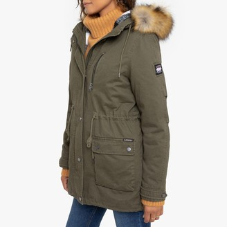 Superdry Arizona Rookie Cotton Mid-Length Parka with Faux Fur Hood and Pockets