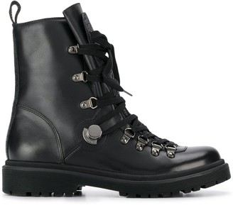 Moncler Lace-Up Leather Army Boots