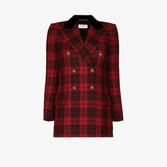Saint Laurent Double-Breasted Tartan Wool Jacket