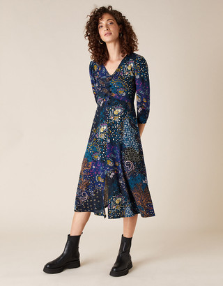 Monsoon Printed Jersey Midi Dress with Organic Cotton Blue
