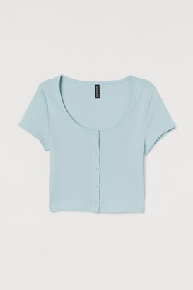 H&M Short Jersey Top - Turquoise