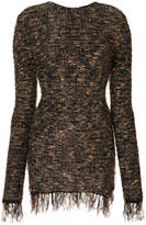 Balmain frayed hem mini dress