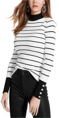 GUESS Rebekah Button-Sleeve Turtleneck Sweater