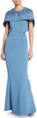 Zac Posen Rhinestone-Embellished Capelet Gown