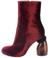 Dries Van Noten 2017 Velvet Sculpted-Heel Boots