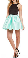 Teeze Me High-Neck Color Block Skater Dress