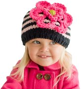 Huggalugs Baby and Toddler Girls Pink & Navy Ziggy Flower Beanie Hat Large