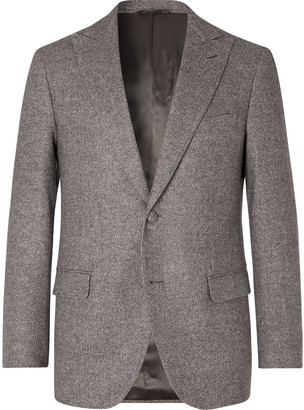 Denis Frison Grey Chevron Wool Suit Jacket