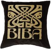 Biba Black velvet logo cushion