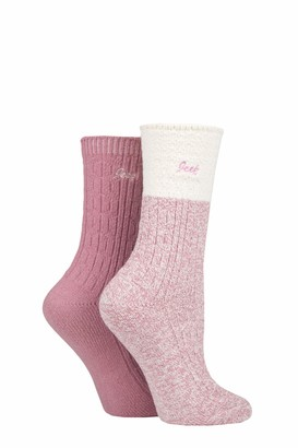 Jeep Ladies Super Soft Cable Knit Boot Socks Pack of 2 Rose/Cream 4-8