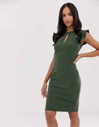 Paper Dolls colour block cap sleeve pencil dress with keyhole neckline detail-Green