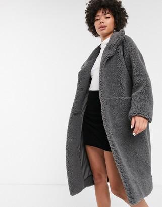 Monki midi teddy coat in dark grey