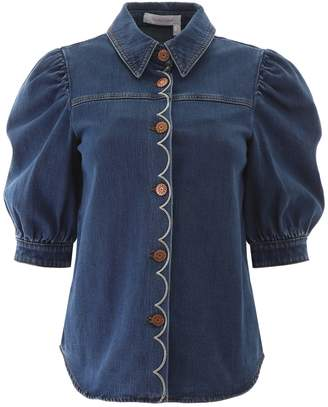 See by Chloe Denim Shirt With Scallop Embroidery