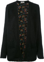 Saint Laurent floral lining cardigan - women - Silk/Polyamide/Mohair/Wool - XS