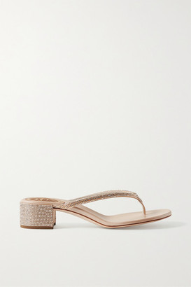 Rene Caovilla Crystal-embellished Satin Sandals - Gold