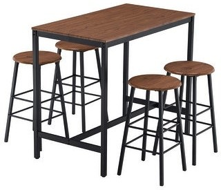 Zimtown Industrial Breakfast Bar Table Set Kitchen Counter with 4 Round Stools