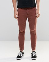 Asos Skinny Cropped Jeans With Extreme Knee Rips In Rust