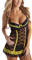 Black & Yellow Lace Ruffle Underwire Chemise & Thong - Plus Too