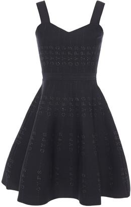 Maje Flared Metallic Jacquard-knit Mini Dress