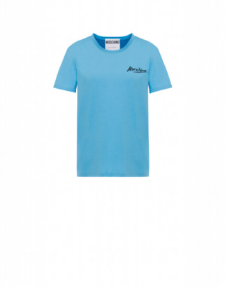 Moschino Jersey T-shirt Mini Logo Signature Woman Blue Size 38 It - (4 Us)