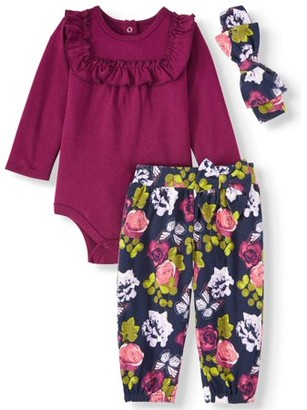 Miniville Long Sleeve Ruffle Bodysuit, Floral Pants, & Bow Headband, 3pc Outfit Set (Baby Girls)