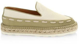Bottega Veneta Canvas & Leather Flatform Espadrilles