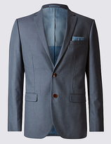 M&S Collection Pure Cotton Textured Tailored Fit Jacket
