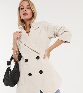 ASOS DESIGN Petite asymmetric bonded crepe jacket in mink