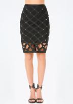 Bebe Studded Cage Skirt