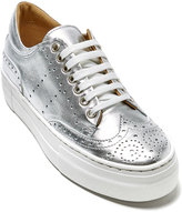 Silver Wing-Cap Leather Platform Sneaker