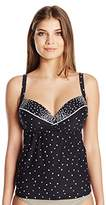 CoCo Reef Women's Clarity Dots Divine Power Bra-Sized Swimsuit Tankini Top With Underwire