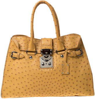 Miu Miu Yellow Ostrich Leather Special Edition 07/8 Tote