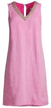 120% Lino V-Neck Embellished Shift Dress