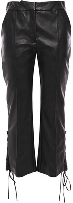 Stella McCartney Lace-up Faux Textured-leather Kick-flare Pants