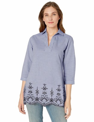 Foxcroft Women's Costa Stripe Embroidery Tunic