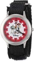 Disney Kids' W000428 Toy Story Stainless Steel Time Teacher Black Velcro Strap Watch