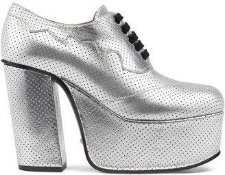 Gucci Metallic leather platform lace-up shoe