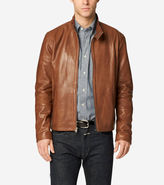 Cole Haan Burnished Lamb Leather Stand Collar Moto Jacket