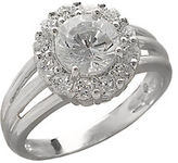 Lord & Taylor Sterling Silver And Cubic Zirconia Flower Ring