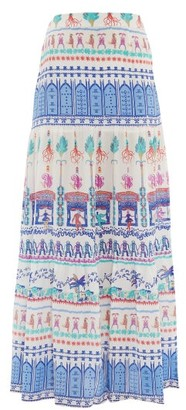 Le Sirenuse Le Sirenuse, Positano - Sevillana Proscenium-print Cotton Maxi Skirt - Womens - White Print