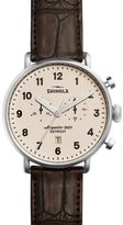 Shinola 43mm Canfield Chronograph Alligator Watch, Red